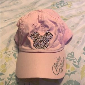 Baby Pink Minnie Mouse hat- adjustable strap